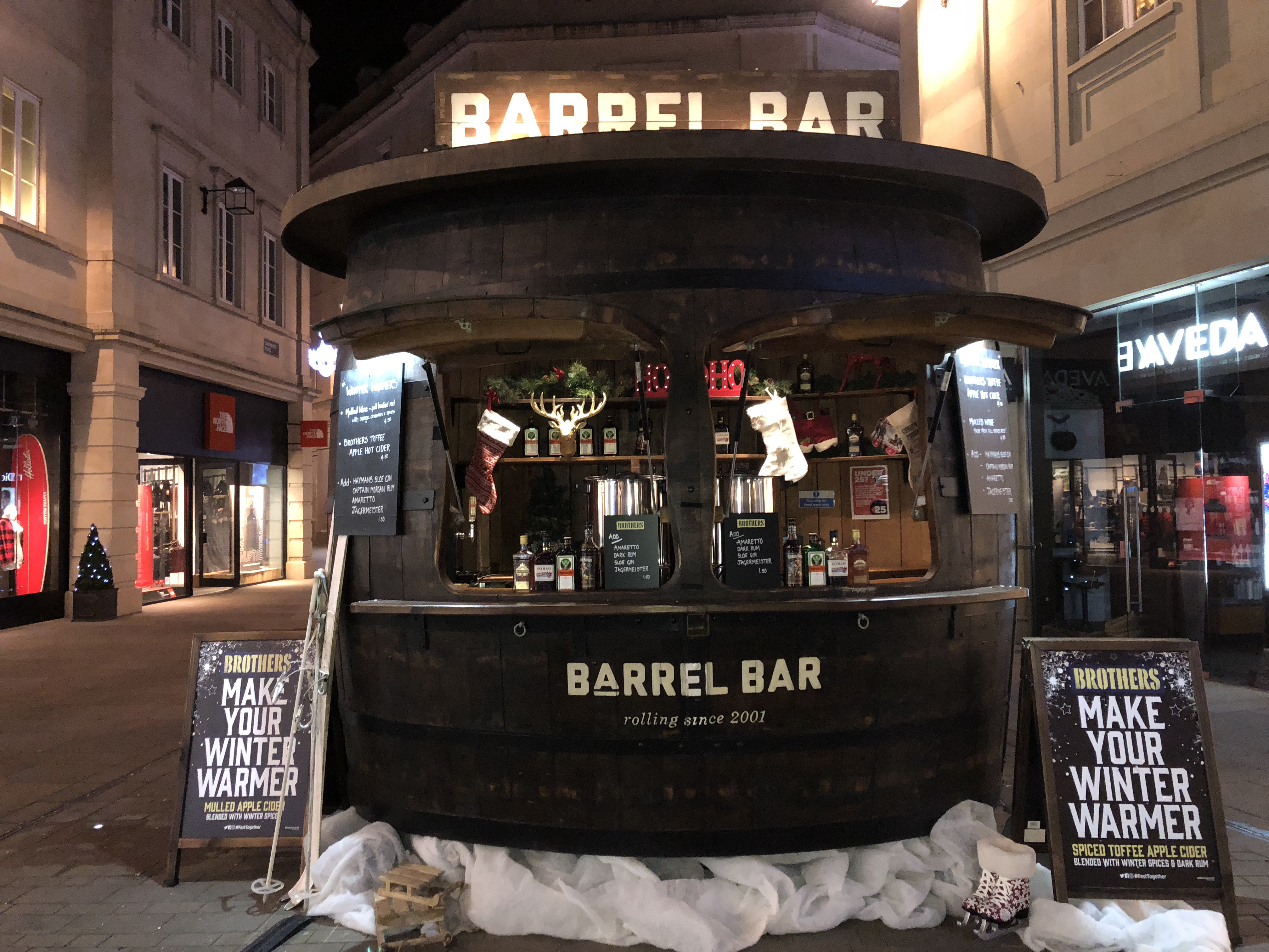 Christmas Barrel Bar Bath